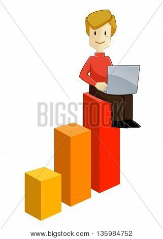 Vector stock of a businessman sitting on top of climbing graphic chart working with laptop