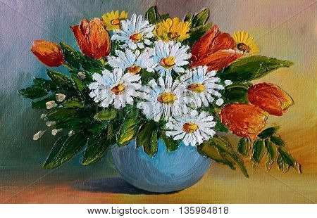 Oil Painting - colorful bouquet of white yellow and red flowers on the table in a vase on a background of yellow wall in the style of Impressionism daisies