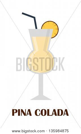 Pina colada coctail vector illustration.