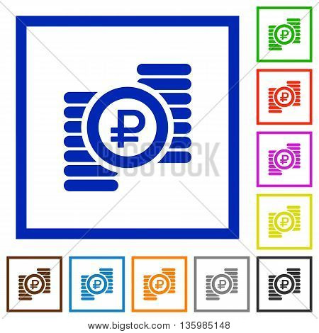 Set of color square framed Ruble coins flat icons