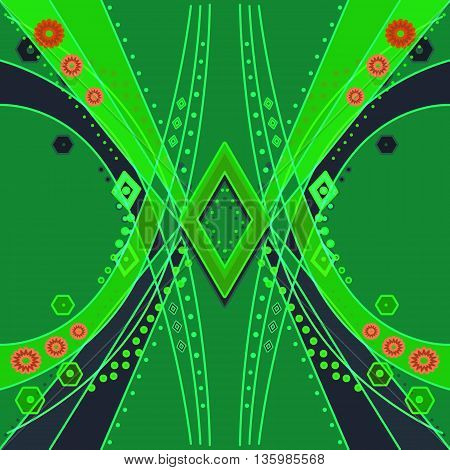 Abstract pattern with ornamental elements modern green print background