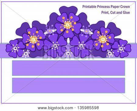 Blue purple flower crown for girls. Handmade