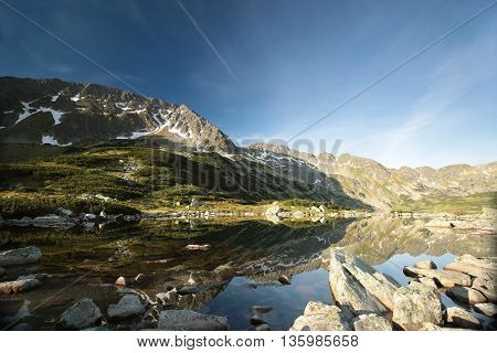 Valley of five ponds surrounded by mountains, Polish Tatras.