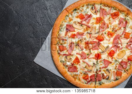 Fresh Pizza With Mushrooms And Ham