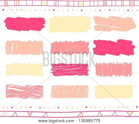 Vector collection of retro scribbled lines with hand drawn style of yellow, pink and magenta colors