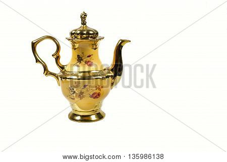 pot kettle porcelain yellow gold plated tableware..