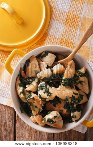 Dietary Food: Chicken Breast Braised With Spinach In A Saucepan. Vertical Top View