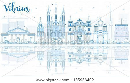 Outline Vilnius Skyline with Blue Landmarks and Reflections. Vector Illustration. Business Travel and Tourism Concept with Historic Buildings. Image for Presentation Banner Placard and Web Site.