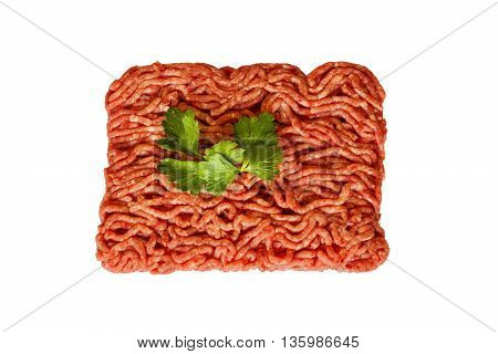 Raw minced beef isolated on white background. Top view.