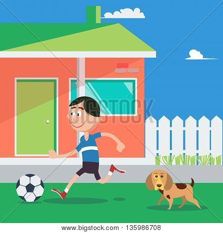 Happy Boy Playing Football with Dog. Vector illustration