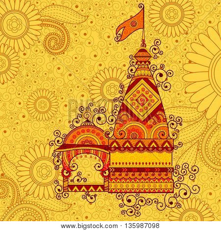 Vector design of hindu temple Happy Dussehra in Indian art style