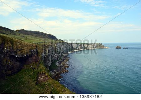 Coast Of Ireland With Sea And Cliffs Not To Far From Dublin