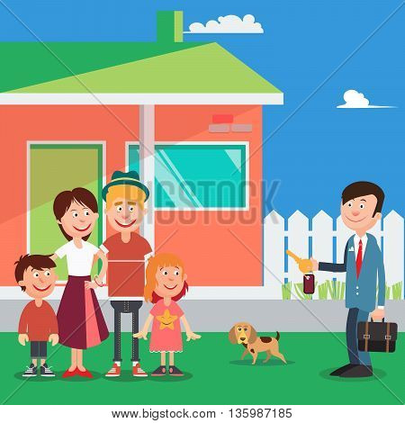 Happy Family Buying a New House. Real Estate Agent with Keys from House. Vector illustration