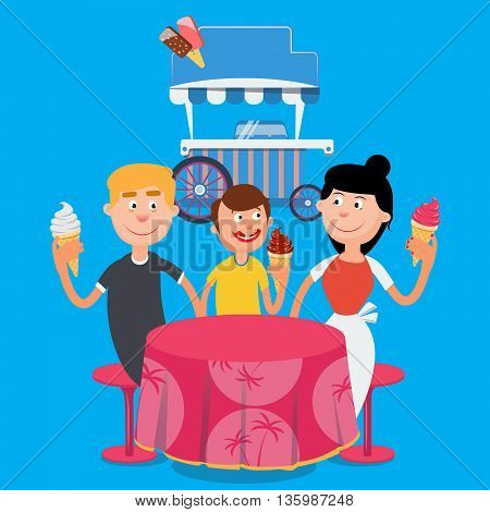 Happy Family Eating Ice Cream. Family Weekend. Vector illustration