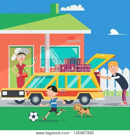 Family Vacation. Summer Trip by Car. Vector illustration