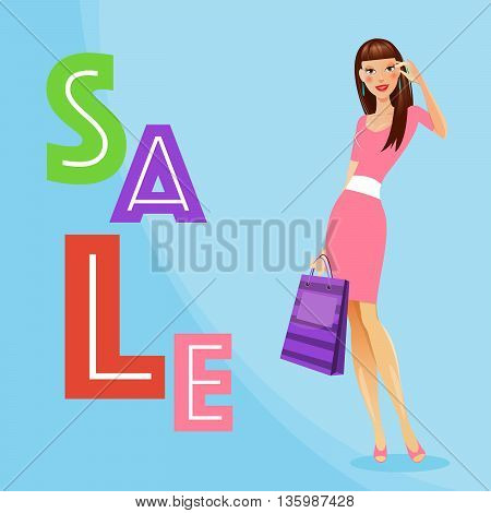 Girl with Shopping Bags. Woman on Shopping. Sale Banner. Vector illustration