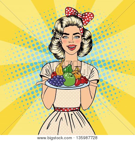 Beautiful Woman Holding a Plate with Fruits. Housewife with Fruits. Pop Art. Vector illustration