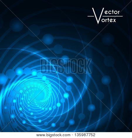 Vortex glow radial lights abstract background blue. Vector illustration