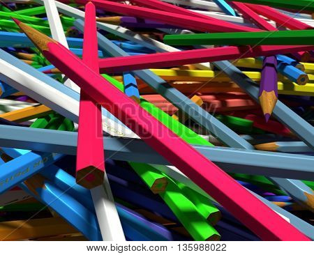 Close up of large group of colored pencils. Colored pencils scattered randomly. 3d render.
