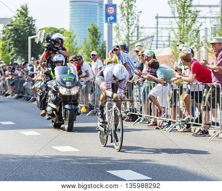 Utrecht, Netherlands - 04 July 2015: The Swiss cyclist Fabian Cancellara of Trek Factory Racing Team riding during the first stage (individual time trial ) of Le Tour de France 2015 in UtrechtNetherlands on 04 July 2015. Spartacus was on the third place i