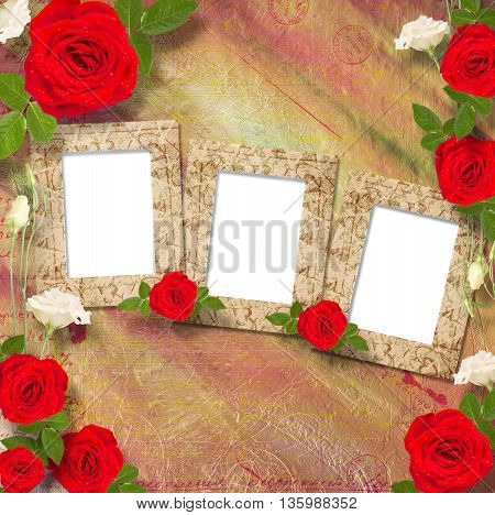 Beautiful Greeting Card With Bouquet Of Red Roses, Ribbons