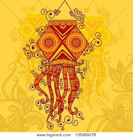 Vector design of Diwali hanging Lamp in Indian art style
