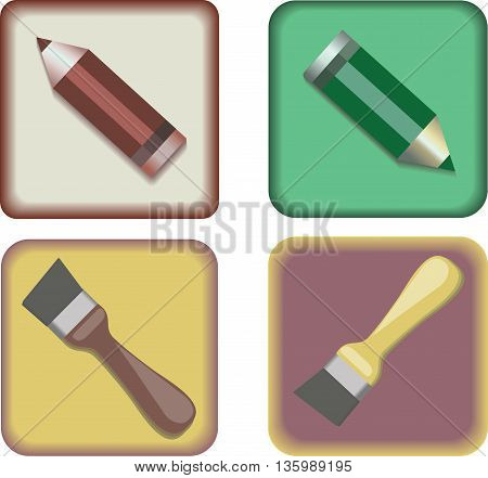 Vector image. The four icons. Pencils and brushes on a transparent background.