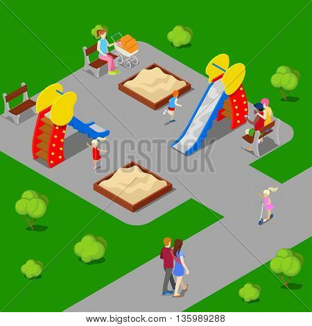 Isometric City. City Park with Children Playground. Vector illustration