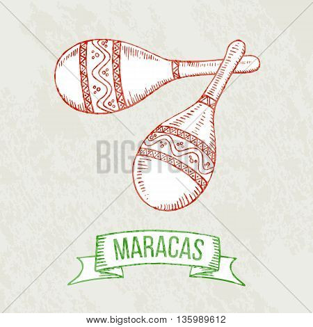 Hand drawing maracas. Symbol of Mexico musical instrument. Vector