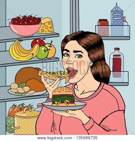Hungry Woman Eating Unhealthy Food Near Fridge. Pop Art. Vector illustration