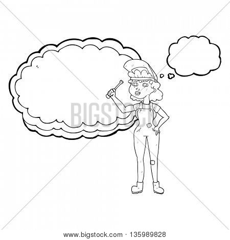freehand drawn thought bubble cartoon female mechanic