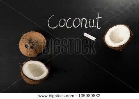 Coconut shells on black chalkboard