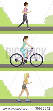 Set of outdoor workouts. Jogging roller skating cycling in the park. Physical training for losing weight reduction in fat mass. Vector.