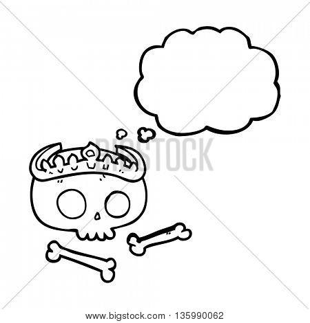 freehand drawn thought bubble cartoon skull wearing tiara
