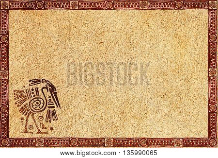 Background with American Indian traditional patterns and stucco texture