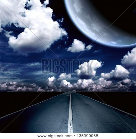 Automobile headlights illuminated the road in the field. Night landscape with road, clouds and the planet. Element of this image furnished by NASA. 3d render