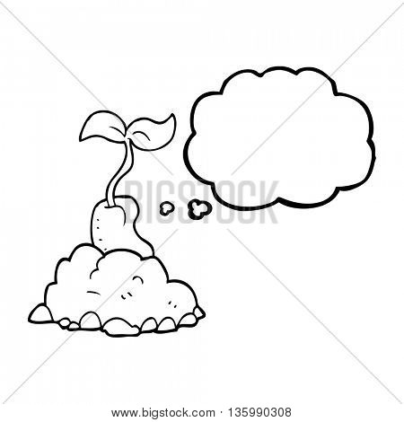 freehand drawn thought bubble cartoon sprouting seed