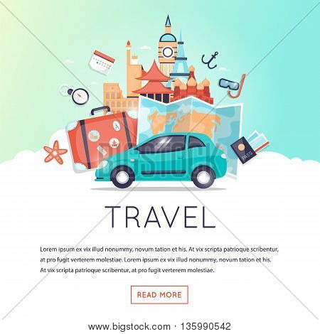 Page web design template World Travel, Travel by car, summer vacation, tourism and journey, traveling set of icons. Vintage suitcase with stickers. Flat design vector illustration.