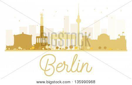 Berlin City skyline golden silhouette. Vector illustration. Cityscape with landmarks