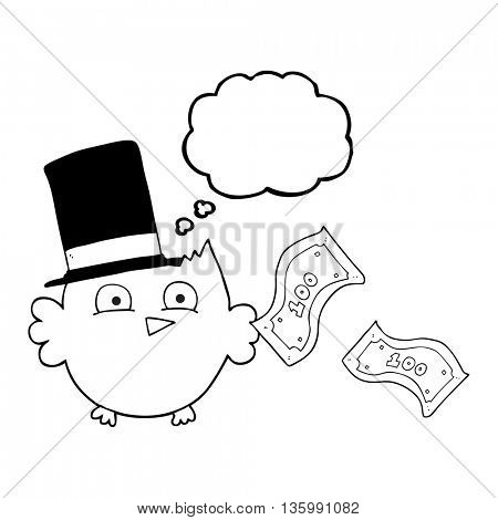 freehand drawn thought bubble cartoon wealthy little owl with top hat