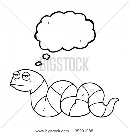 freehand drawn thought bubble cartoon bored snake