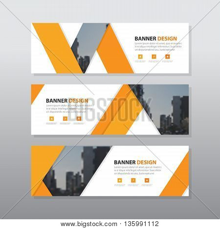 Orange triangle abstract corporate business banner template horizontal advertising business banner layout template flat design set clean geometric abstract cover header background template for website design