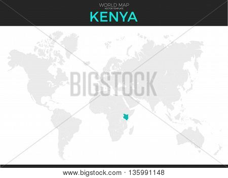 Republic of Kenya location modern detailed vector map. All world countries without names. Vector template of beautiful flat grayscale map design with selected country and border location