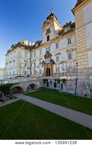 VALTICE, CZECH REPUBLIC - JUNE 22, 2016: Palace in town of Valtice in Moravia, Czech Republic on June 22, 2016.