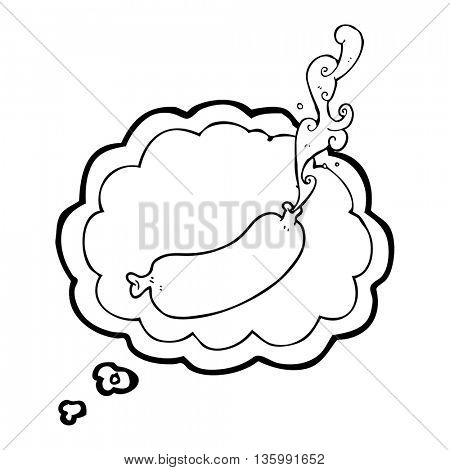freehand drawn thought bubble cartoon squirting sausage