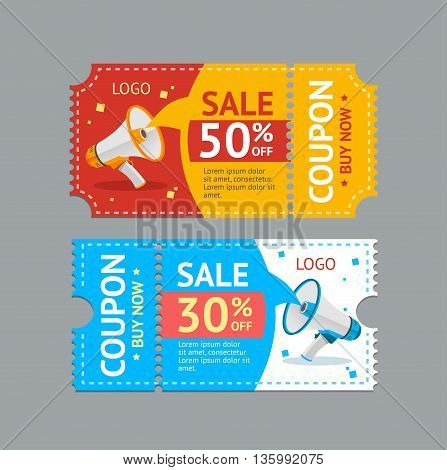 Coupon Sale with Megaphone on Grey Background. Promotion Concept. Vector illustration