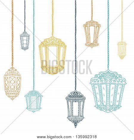 Ramadan Kareem theme. Vector card with flashlights. Hand drawn illustration with lamps.