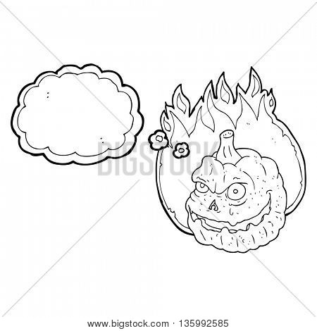 freehand drawn thought bubble cartoon spooky pumpkin