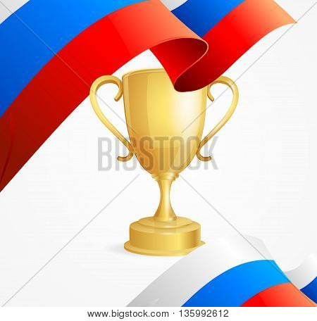 Russia Winning Golden Cup Concept Background. Vector illustration