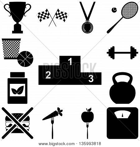 Sport and healty signs set. Vector illustration
